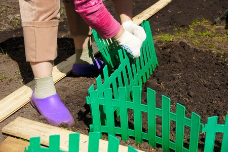 establishes: the woman establishes a green plastic fencing on a flower bed