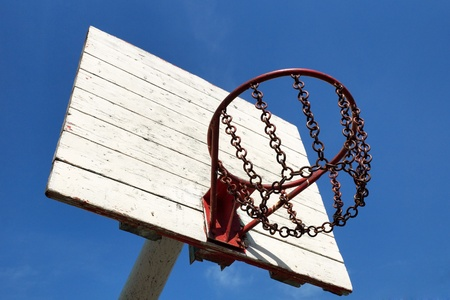 street basketball basket against the blue sky photo