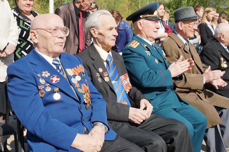 MOSCOW - MAY 5: Veterans of the Second World War accept congratulations on Victory Day celebration on May 5, 2012 in Moscow, Russia