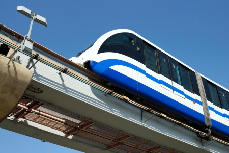 monorail train against the dark blue sky           Stock Photo - 13779369
