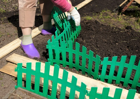 the woman establishes a green plastic fencing on a flower bed Stock Photo - 13779368