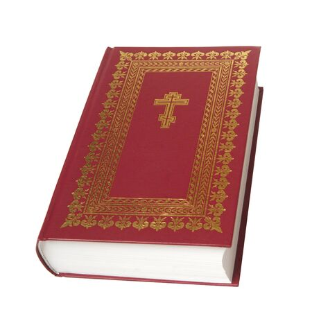 the red bible, it is isolated on the white photo