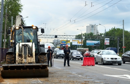 15.06.2012 Moscow. Carrying out construction works on complete reconstruction of Yaroslavskoye Highway.
