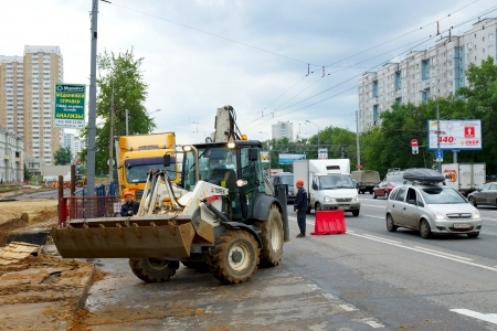 15.06.2012 Moscow. Carrying out construction works on complete reconstruction of Yaroslavskoye Highway. Stock Photo - 14514974