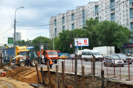 15.06.2012 Moscow. Carrying out construction works on complete reconstruction of Yaroslavskoye Highway. Stock Photo - 14514982