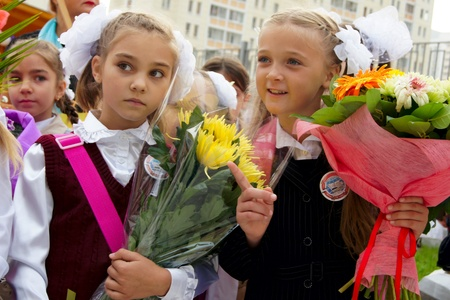 01.09.2011 Moscow, Bolshaya Marfinskaya St. On September 1. Festive meeting of school students and teachers.