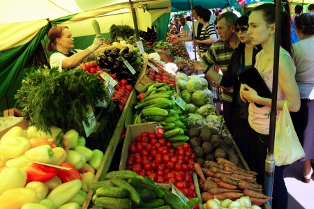 23.06.2011 Moscow, vegetable market. Stock Photo - 14359698