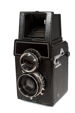 The old camera, isolated on the white. Stock Photo - 15483511