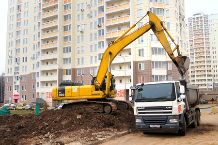 06 07 2012 Moscow, Marfino district. Construction of the new road