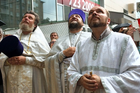 13 07 2012 Moscow. At a belltower of the temple of the Nativity of the Theotokos in the Butyrsky district the prior of the temple archpriest Alex Talyzov consecrated the main bell – «Big Blagovestnik» is powerful in five tons.
