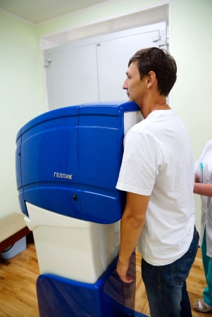 20120719 Russia. Moscow. The patient during passing of fluorographic inspection in one of city hospitals.