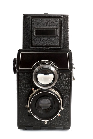 history background: The old camera, isolated on the white