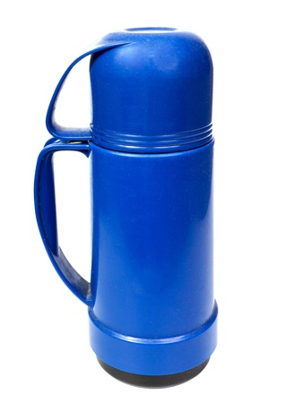 thermos: old blue plastic thermos for drinks, it is isolated on the white