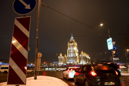 08.12.2012 Moscow. Ukraine hotel, night look. Stock Photo - 16993889