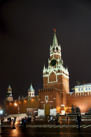 08.12.2012 Moscow, Red Square. Spassky tower, night look. Stock Photo - 16978926