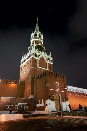 08.12.2012 Moscow, Red Square. Spassky tower, night look. Stock Photo - 16978923