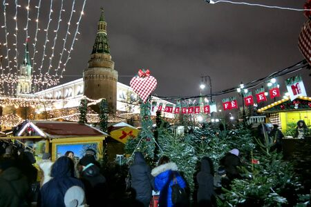 26.12.2012 Moscow. The Strasbourg fair on Manezhnaya Square, a fir-tree market. Stock Photo - 17355738