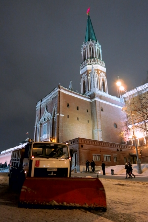 26.12.2012 Moscow. Snow cleaning on Red Square.