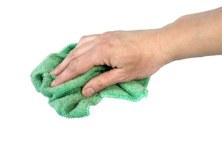rags: rag for wet cleaning in an arm,  isolated on the white Stock Photo
