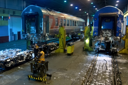 13.01.2013 Brest, Belarus. Replacement of wheel couples of railway cars on frontier with Poland.