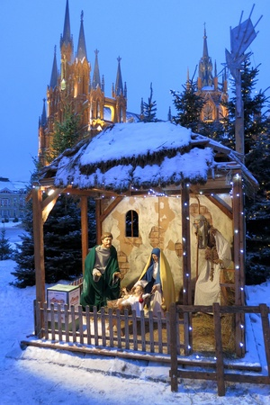 saint joseph: 01.01.2013 Moscow. Christmas nativity scene, the Cathedral of Immaculate Conception of Blessed Virgin Mary.