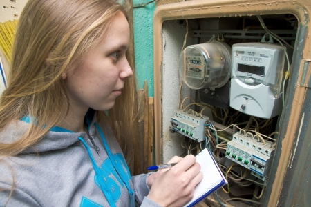 21 01 2013 Moscow. Write down indications of the multitariff electric meter. Stock Photo - 18368481