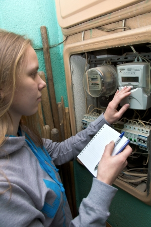 21 01 2013 Moscow. Write down indications of the multitariff electric meter. Stock Photo - 18368478