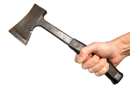 old metal axe in a hand, it is isolated on the white Stock Photo - 18625025