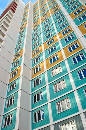 Facade of a new many storeyed apartment house photo