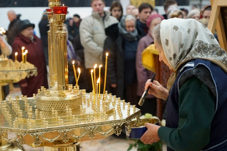 11 11 2012 Moscow  Icon consecration  CHERNOBYL SAVIOUR  in the temple of All Moscow Sacred  Stock Photo - 24244974