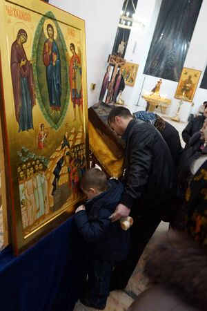11 11 2012 Moscow  Icon consecration  CHERNOBYL SAVIOUR  in the temple of All Moscow Sacred  Stock Photo - 24244977