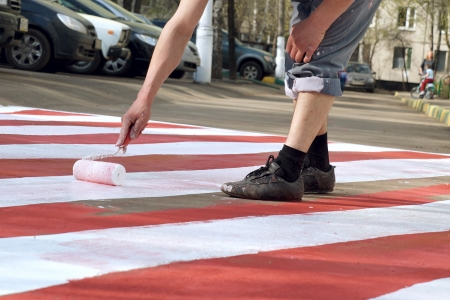 Red and white road marking Stock Photo - 18850709
