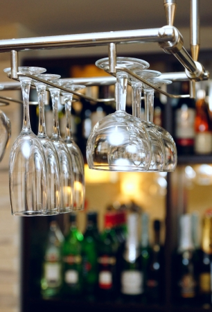 glass glasses on a bar counter Stock Photo - 18850704