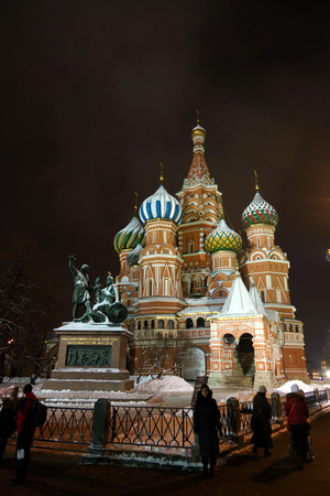 Saint Basil cathedral on the Red Square in Moscow, night view
