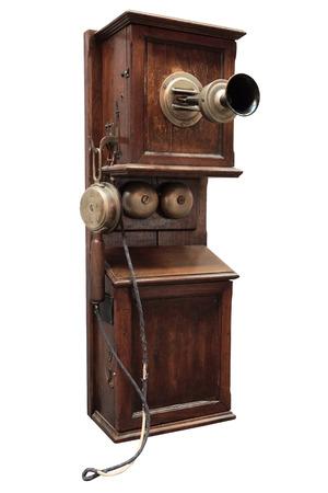 telefono antico: Telefono antico in legno, è isolato sul bianco.