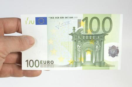 one hundred euro banknote: hundred euros on a white background