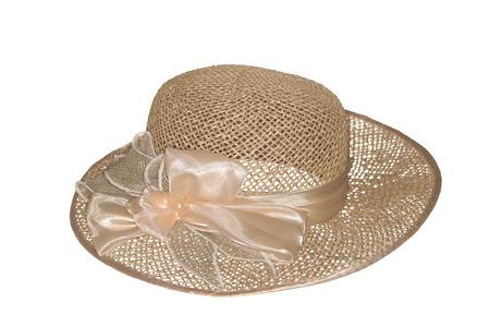 resistol: Sombrero de paja, aislado en el blanco.