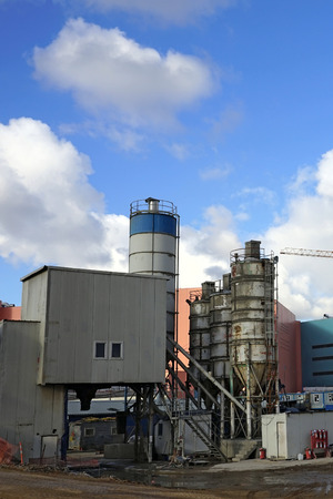cement chimney: Concrete plant in an industrial zone.