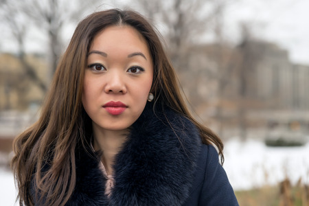 frontal portrait: frontal portrait of a beautiful Asian girl