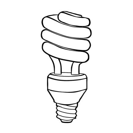 Spiral energy saving electric discharge lamp. Contour drawing. photo
