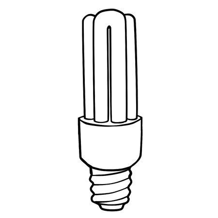 discharge: discharge energy saving light bulb filament with straight glass tubes. Contour drawing.