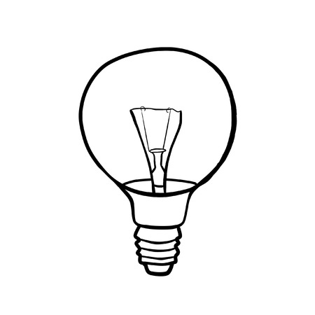 filament: Round light bulb filament. Contour drawing. Stock Photo