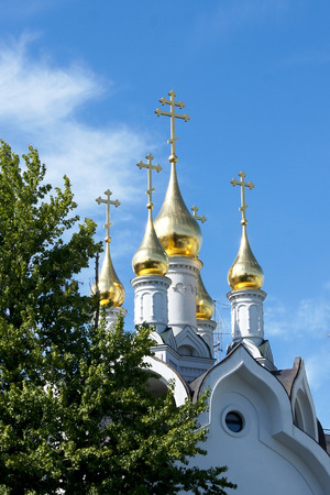 domes: golden domes against the blue sky Stock Photo