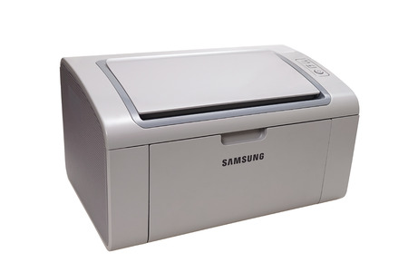 printout: MOSCOW, RUSSIA - SEPTEMBER 24, 2015: Laser printer Samsung, isolated on white.