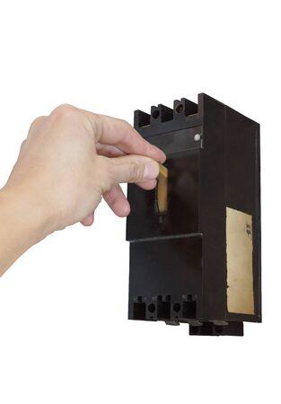 circuitos electricos: Apagar el interruptor el�ctrico. Aislado en blanco.