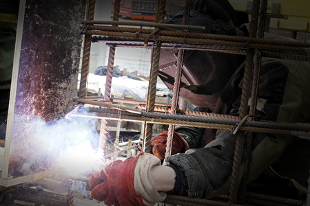metal structure: Welding metal structure of the building rods Stock Photo