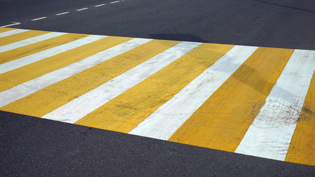 markings: Crosswalk across the street, road markings. Stock Photo