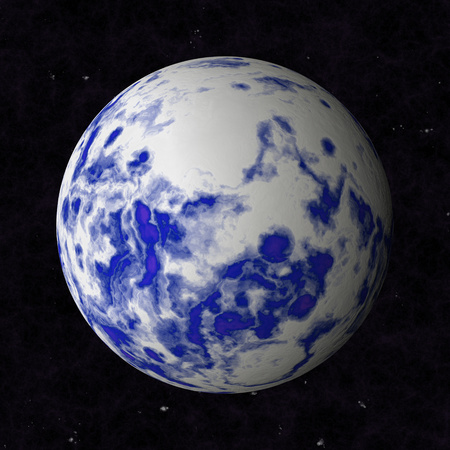 oceanic: Abstract oceanic planet is blue with white clouds.