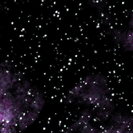 starlit: Outer space with purple clouds and big stars. Stock Photo