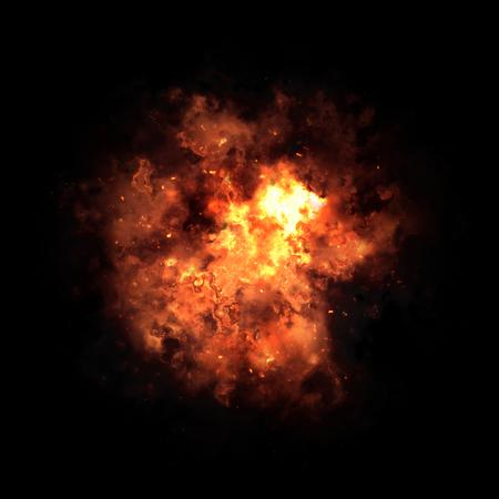 detonation: Orange fiery nebula after the explosion in black space.